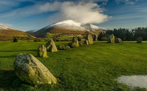 Picture the sky, stones, England, mountain, Castlereagh, Cumbria, Castlerigg