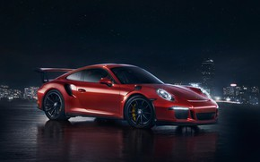 Picture night, red, the city, lights, Porsche, sports car, porsche, porsche 911