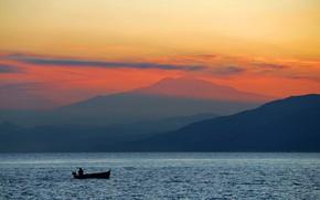 Picture sea, boat, the volcano, Italy, Etna, Sicily