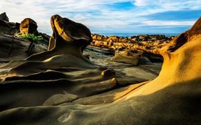 Picture sea, the sky, clouds, line, blue, stones, rocks, shore, form, sea, relief, rocky, relief, rock …