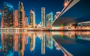 Picture water, night, the city, reflection, building, lighting, Dubai, Bay, skyscrapers, UAE, Emirates
