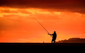 Picture sunset, fishing, silhouette