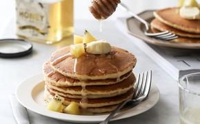 Picture kiwi, honey, banana, pancakes, pancake