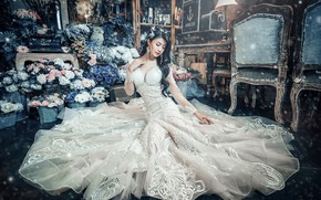 Picture chest, girl, decoration, flowers, pose, style, room, white, furniture, interior, dress, brunette, hairstyle, outfit, image, …
