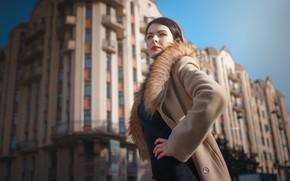 Picture girl, the city, makeup, fur, coat, Alexander Drobkov-Light, Danya Grifon