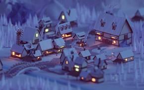 Picture lights, windows, forest, trees, bridge, night, winter, snow, street, houses, village, artist, rendering, digital art, …