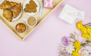 Picture flowers, coffee, Breakfast, cakes, tray, cupcake, croissants