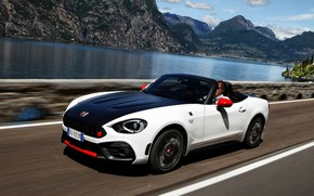 Picture Roadster, pond, spider, black and white, double, Abarth, 2016, 124 Spider