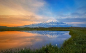 Picture grass, landscape, nature, lake, reflection, dawn, the volcano, Kamchatka, Tolbachik, Алексей Кретов
