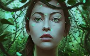 Picture Girl, Look, Lips, Face, Girl, Eyes, Art, Illustration, Portrait, Characters, Arthur Henri, by Arthur Henri, ...