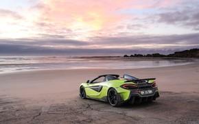 Picture beach, sunset, McLaren, supercar, Spider, 2019, 600LT, Lime Green
