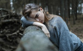 Picture forest, face, pose, hair, portrait, Girl, sweater, Aleks Five