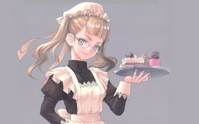 Picture glasses, blue eyes, grey background, cap, uniform, the maid, tray, apron, a piece of cake, …