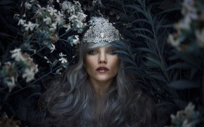 Picture leaves, girl, flowers, style, the dark background, crown, garden, fantasy, blue eyes, Diadema, Princess, blue …