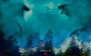 Picture Fog, Figure, Monster, Background, Battle, Godzilla, Art, Art, Godzilla, Gull, Creatures, Muto VS Godzilla, by …