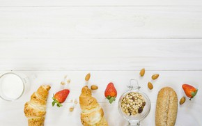 Picture berries, Breakfast, bread, yogurt
