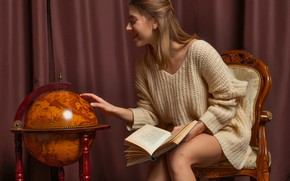 Picture happy, blouse, legs, model, chair, tattoo, brunette, book, cheerful, reading, thighs, globe, study, Avery