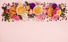 Picture flowers, the inscription, coffee, Cup, composition, Natalia Klenova