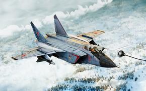 Wallpaper Fighter, by ABiator, Alexander Iartsev, Art, Figure, OKB MiG, Interceptor, Refueling, Winter, MiG-31B, Foxhound, Air ...