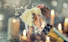 Picture foam, fairy, girl, tube, champagne