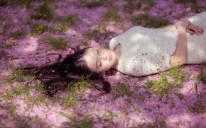Picture girl, light, flowers, face, youth, glade, sleep, spring, petals, sleeping, pink, Asian, white dress, closed …