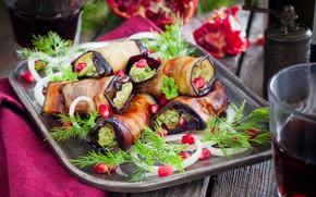 Picture dill, eggplant, garnet, appetizer, rolls