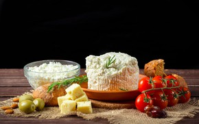 Picture table, cheese, plate, bread, black background, tomatoes, olives, almonds, bokeh, cheese, dates