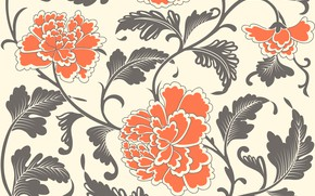 Picture flowers, background, pattern, texture, vintage