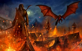 Picture Dragon, Fire, The Hobbit, Bard The Archer, The esgorath, Lake-Town, Smaug, The hobbit: the Battle …