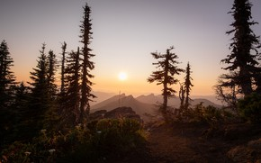 Picture the sky, the sun, light, trees, sunset, mountains, fog, dawn, dal, ate, silhouettes