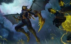 Picture rain, zipper, storm, mask, fantasy, cloak, character, Smite, Ah Muzen Cab