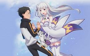 Picture anime, art, Subaru, Pak, Emilia, Re: Zero kara hajime chip isek or Seikatsu