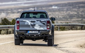 Picture road, grey, Ford, the fence, rear view, Raptor, pickup, Ranger, 2019
