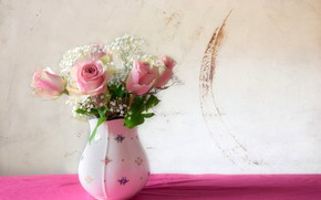 Picture flowers, roses, bouquet, vase, pink