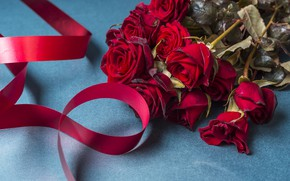 Picture flowers, roses, bouquet, tape, red, red, flowers, beautiful, romantic, roses