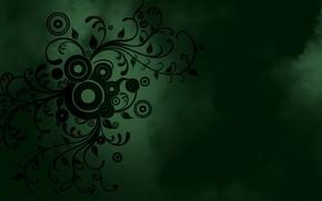 Picture circles, flowers, green, patterns, smoke, minimalism