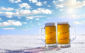 Picture winter, the sky, foam, the sun, clouds, snow, landscape, beer, horizon, mugs