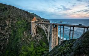 Picture road, landscape, mountains, bridge, nature, the ocean, coast, CA, USA, Bixby Bridge