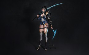 Picture Girl, Fantasy, Art, Lightning, Style, Warrior, Minimalism, Blade, Katana, Sword, Characters, Armor, Bugeon Choi, Half …