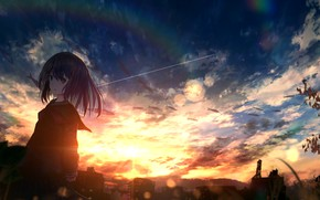 Picture girl, fish, sunset, home, rainbow