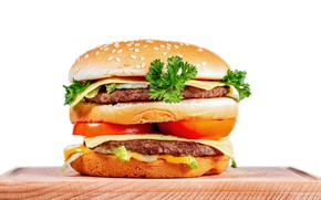 Picture cheese, vegetables, tomato, hamburger, Patty, bun