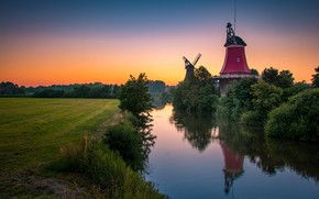 Picture the evening, Germany, mill, river, Greetsiel
