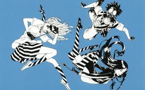 Picture gas mask, gang, striped stockings, crazy eyes, bullies, by Yuusuke Kozaki