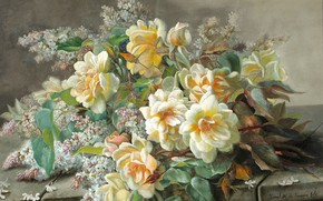 Picture flowers, roses, bouquet, painting, Zbigniew Kopania