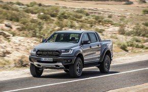 Picture grey, Ford, Raptor, pickup, Ranger, on the road, 2019