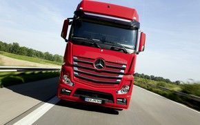 Picture red, Mercedes-Benz, track, tractor, 2014, Actros