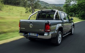Picture road, movement, Volkswagen, pickup, Amarok, Highline, Double Cab, 2016