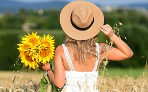 Picture field, summer, girl, sunflowers, flowers, pose, back, hat, tattoo