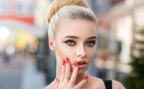 Wallpaper look, face, background, model, hand, portrait, makeup, hairstyle, blonde, beauty, bokeh, manicure, Anastasia, Maxim Romanov