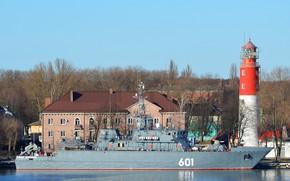Picture lighthouse, pier, minesweeper, Ivan Antonov